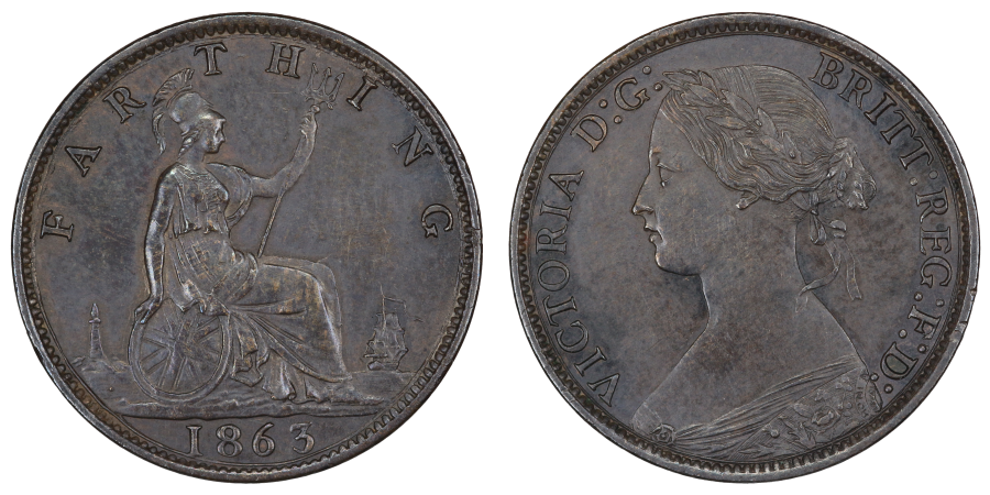 1863 Farthing, Dot below lighthouse, Victoria, Not mentioned in Peck, aUNC toned