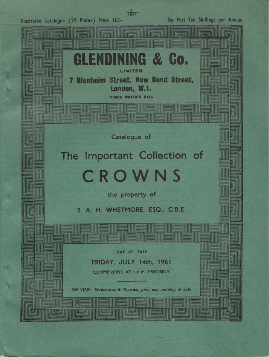 Whetmore, Important collection of crowns, Glendining & Co, Friday July 14th 1961, Illustrated catalogue (29 plates)