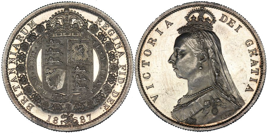 1887 Proof Halfcrown, Victoria, About as struck hairlined, Davies 641P, Dies 2+A, S. 3924, Bull 2772, ESC 720