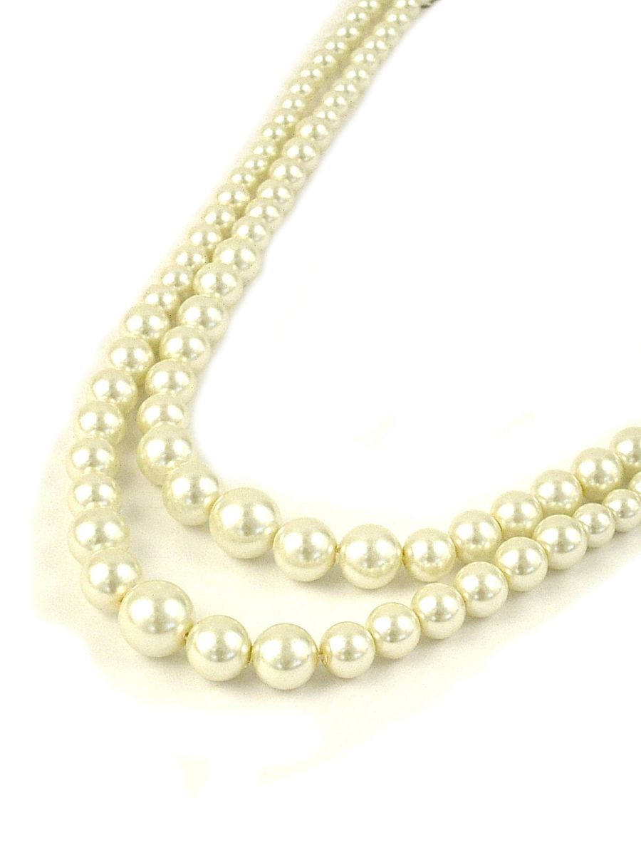 Cream Two Row Graduated Pearl Necklace