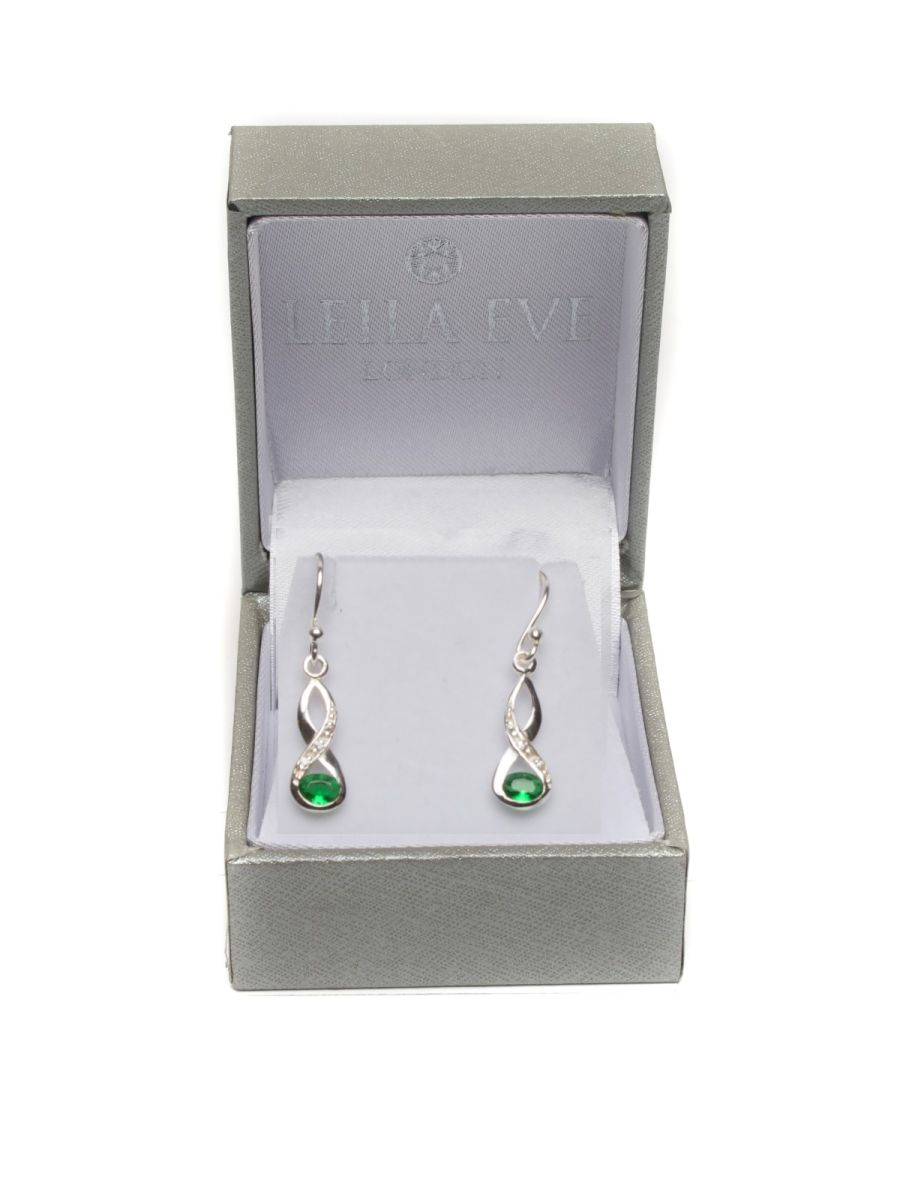 Sterling Silver CZ Peridot Jewel Earrings