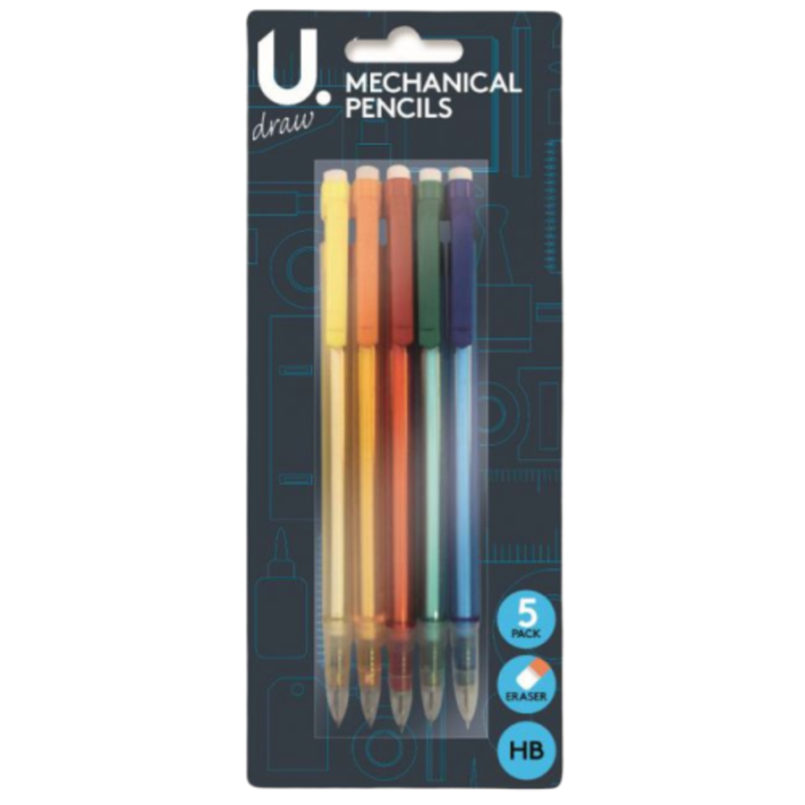 5pk Mechanical Pencils Assorted Body Colours