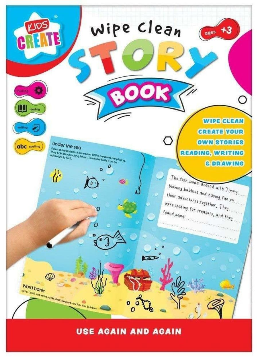 Wipe Clean Story Book Kids Create Educational Story Making Re-usable