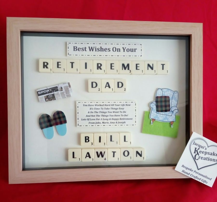 Retirement Personalised Box Frame Gift Male Lots Of Designs