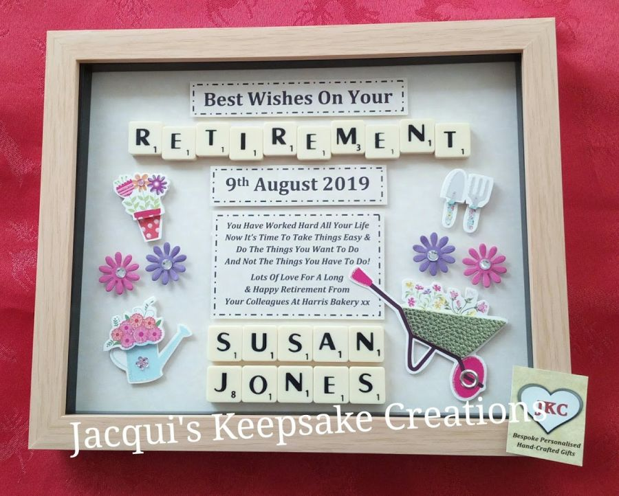 Retirement Personalised Box Frame Gift Female Lots Of Designs
