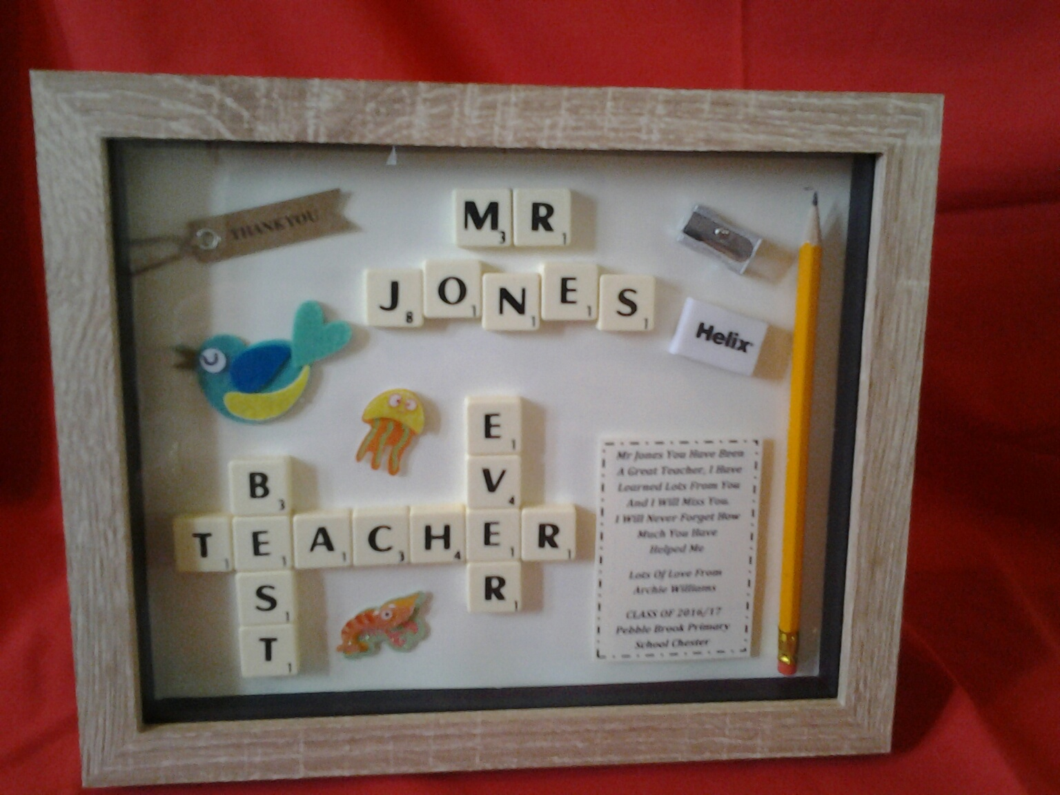 Thank You Best Teacher Bespoke Box Frame Gift Male Version