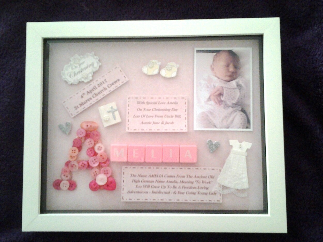 Little Girl's Christening Gift Bespoke Personalised Box Frame