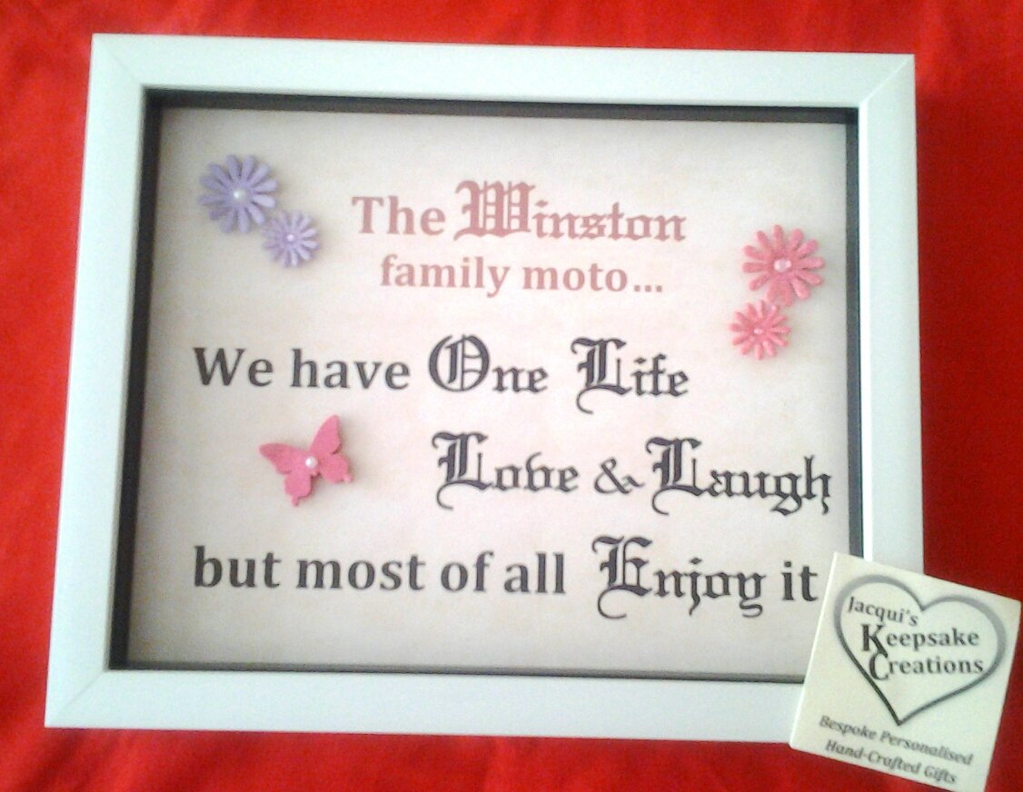 Family motto ' Quote' Bespoke Personalised Box Frame Gift Version 1