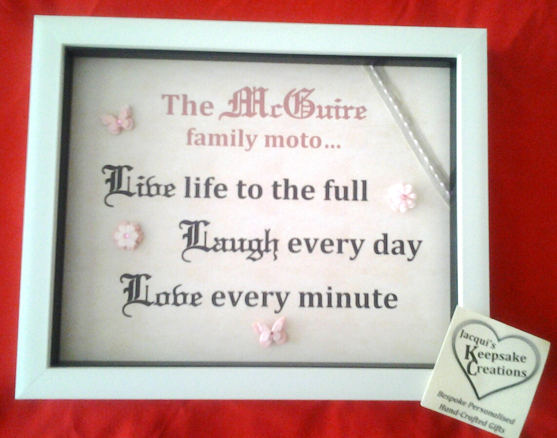 Family motto ' Quote' Bespoke Personalised Box Frame Gift Version 2