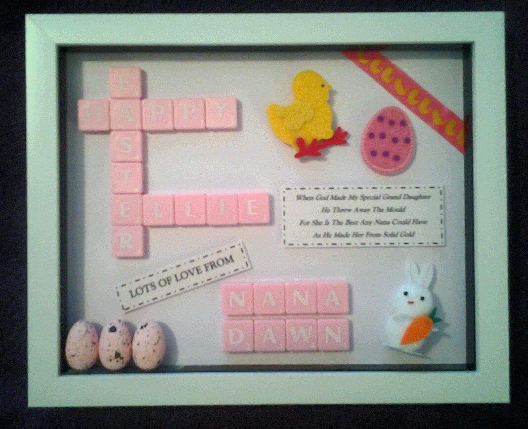 Easter Little Girl Bespoke Personalised Box Frame Gift