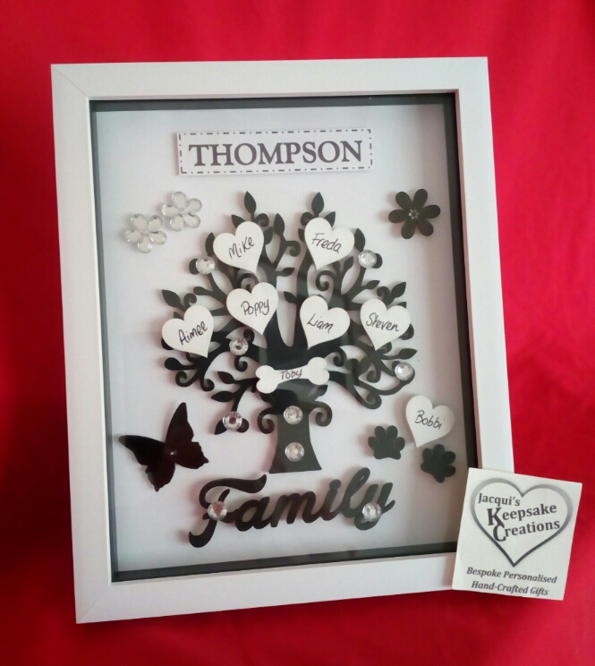 Family Tree Black & White Personalised Box Frame Gift