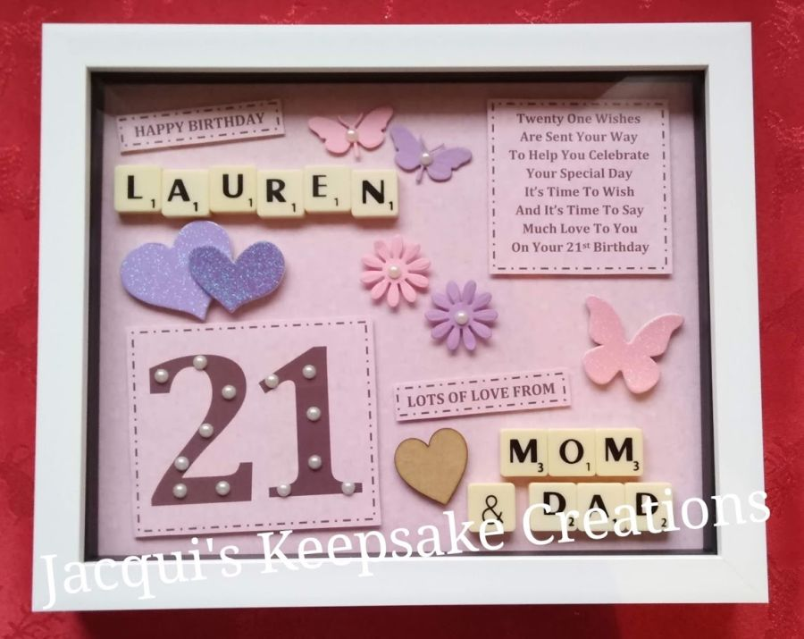 Personalised 21st birthday keepsake frame picture gift