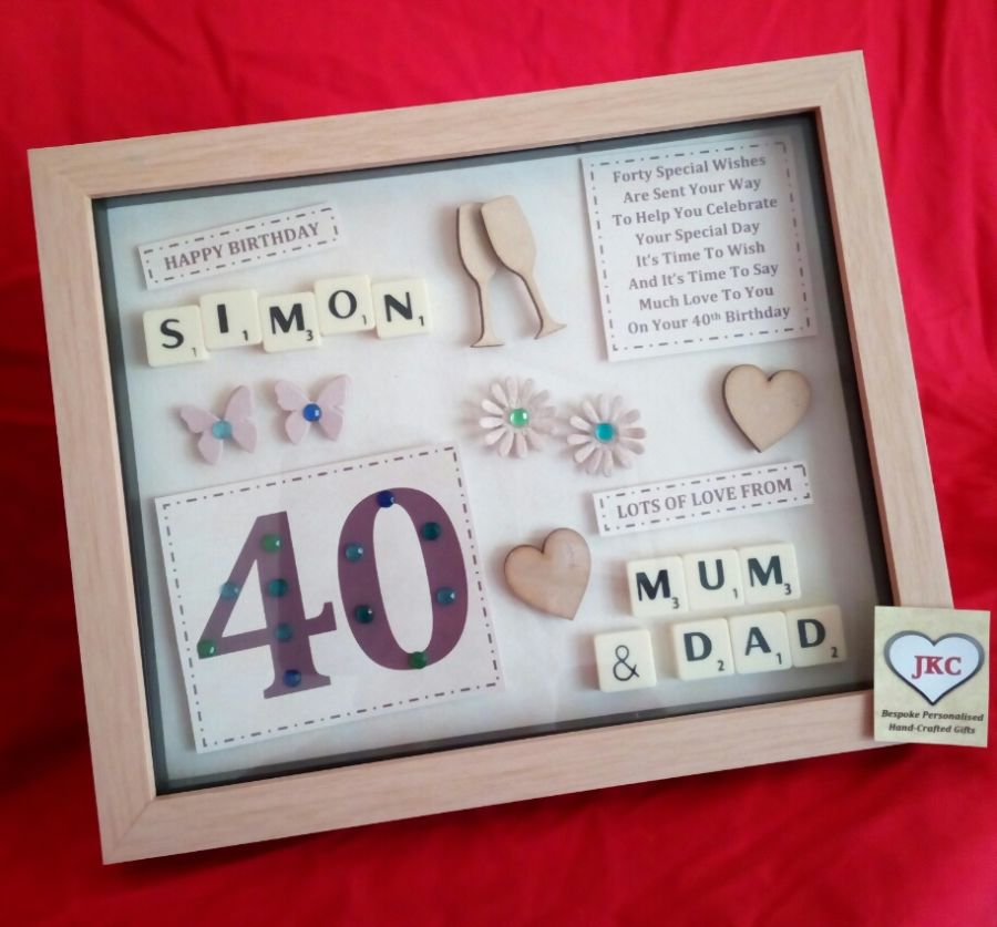 Personalised 40th birthday keepsake frame picture gift