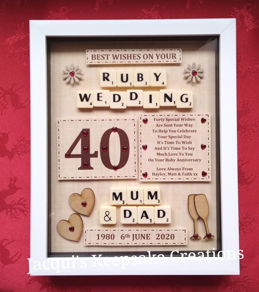Personalised 40th Ruby Wedding Anniversary gift