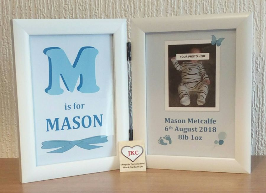 Newborn Little Baby Boy's Personalised Photo Frame Print