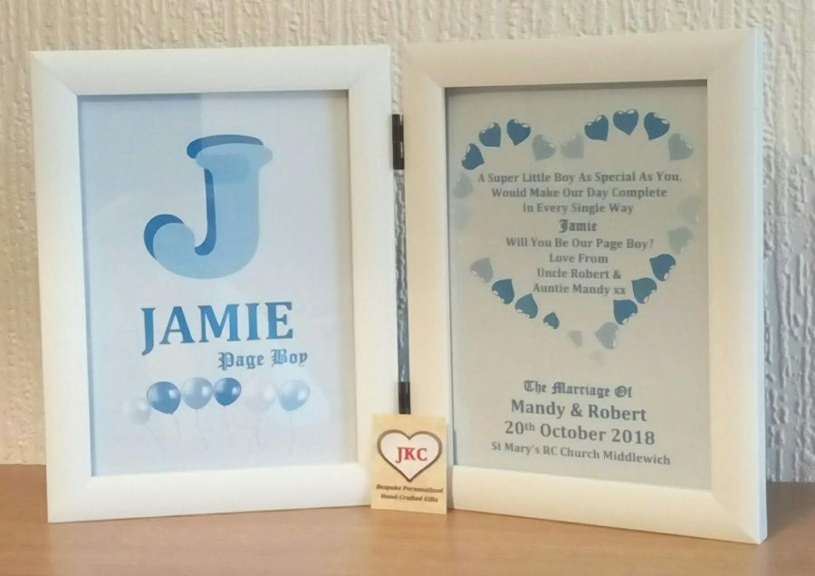Will You Be Our Page Boy Personalised Photo Frame Print