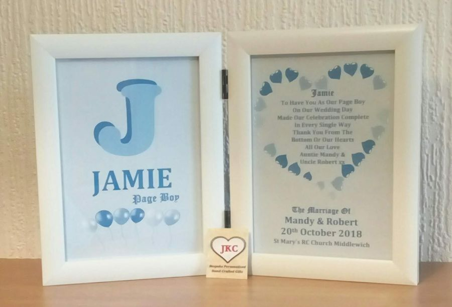 Thank You For Being Our Page Boy Personalised Photo Frame Print