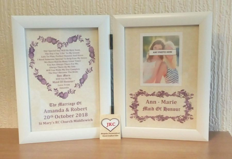 Will You Be My Maid of Honour Personalised Photo Frame Print