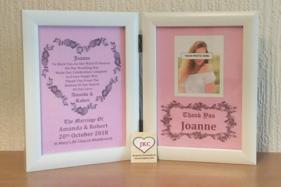 Maid Of Honour Thank You Personalised Photo Frame Print
