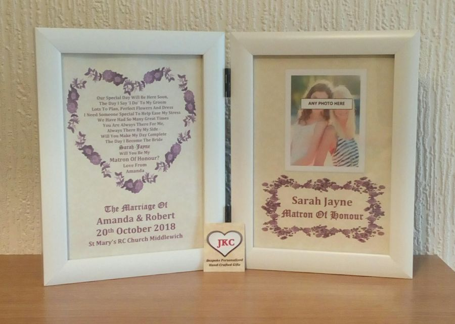 Will You Be My Matron of Honour Personalised Photo Frame Print