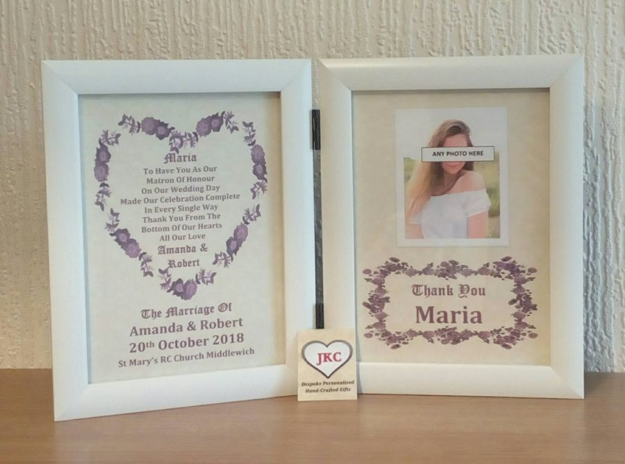Matron Of Honour Thank You Personalised Photo Frame Print