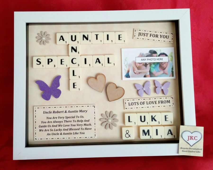 Personalised Auntie & Uncle Box Frame Keepsake Gift