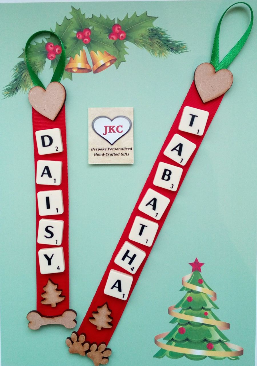 Dog or Cat Personalised Deluxe Christmas Scrabble Hanger