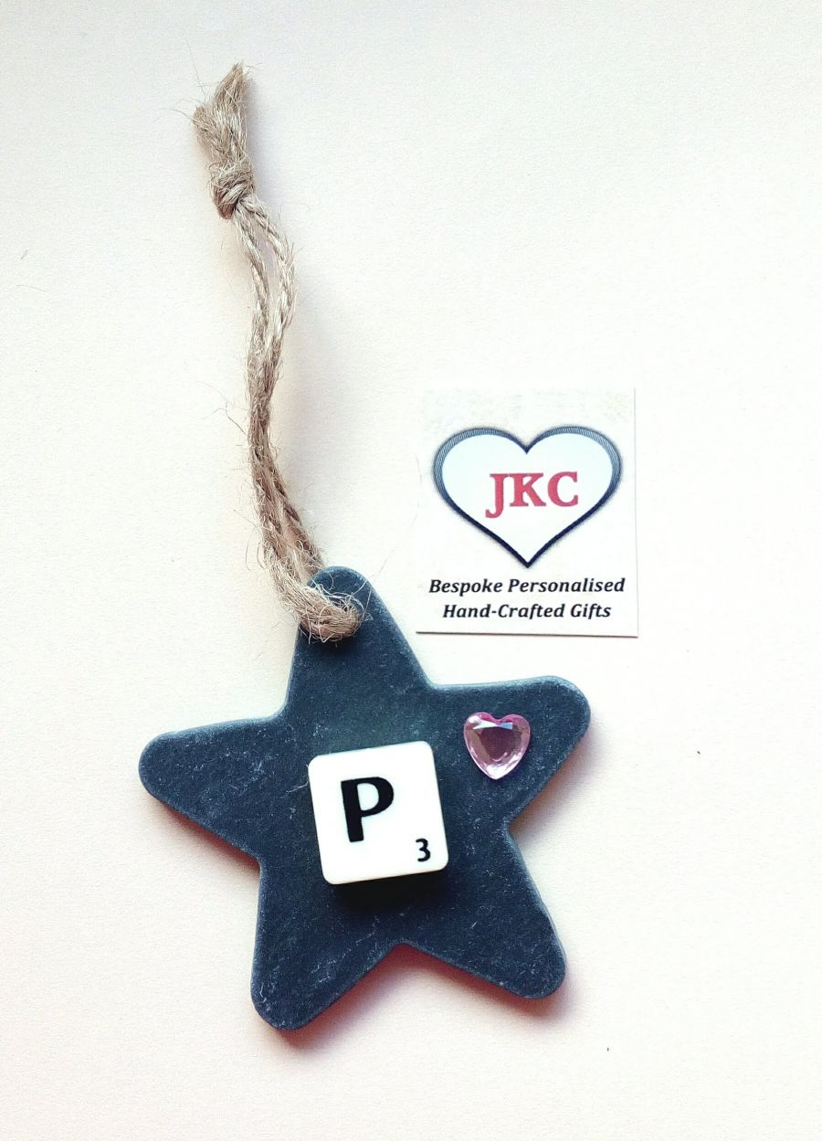 Personalised Slate Star Hanging Decoration