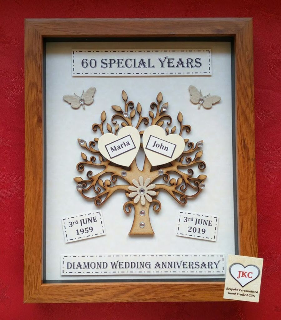Diamond 60th Wedding Anniversary Tree Keepsake Gift