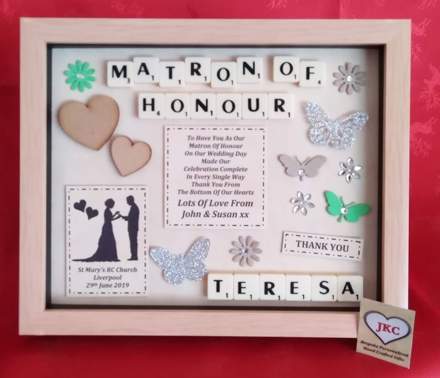 Maid of Honour 'Thank you' Bespoke Personalised Box Frame Gift