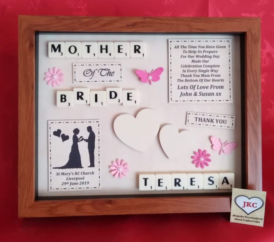 Mother of the Bride or Groom 'Thank you' Bespoke Personalised Box Frame Gift