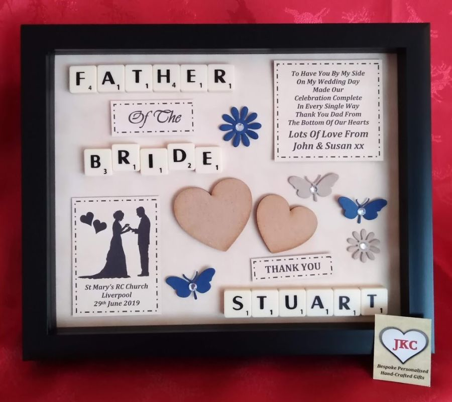 Father of the Bride or Groom 'Thank you' Bespoke Personalised Box Frame Gift