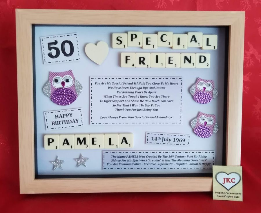 Personalised Owls or Flamingos Framed Keepsake Birthday Gift