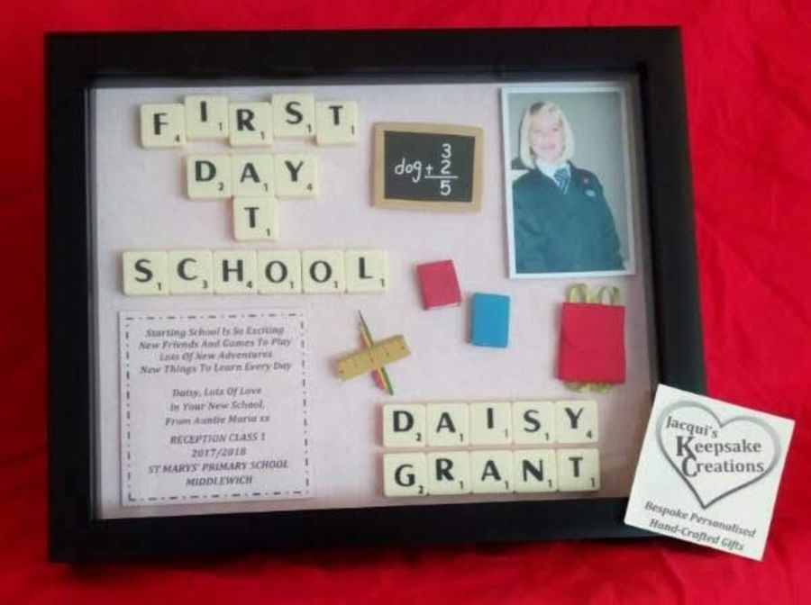 First Day At School Bespoke Box Frame Thank You Gift
