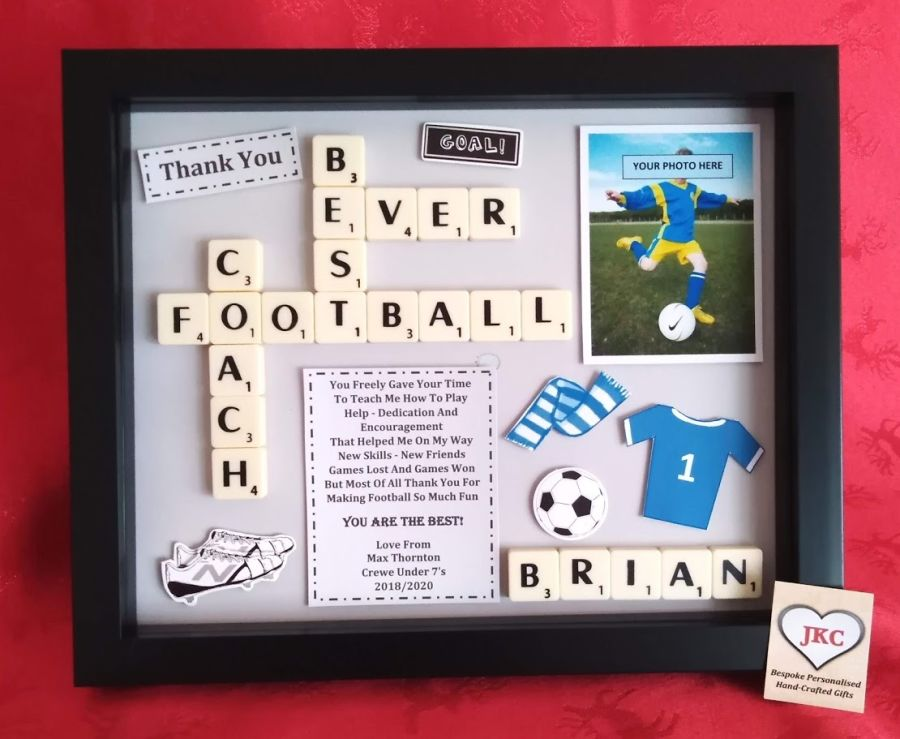 Football Coach Bespoke Personalised Box Frame Thank You Gift