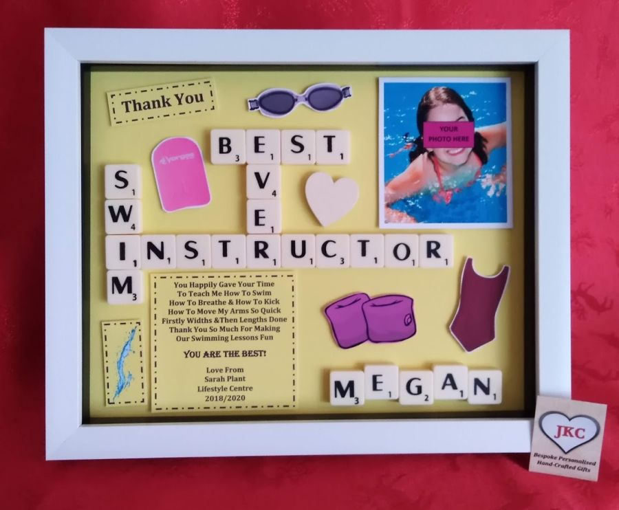 Swim Instructor Bespoke Personalised Box Frame Thank You Gift