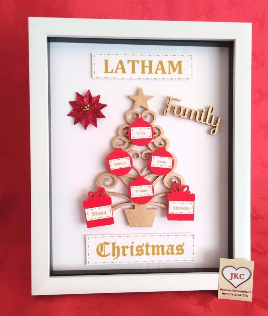 Family Christmas Tree Personalised Keepsake 'C'