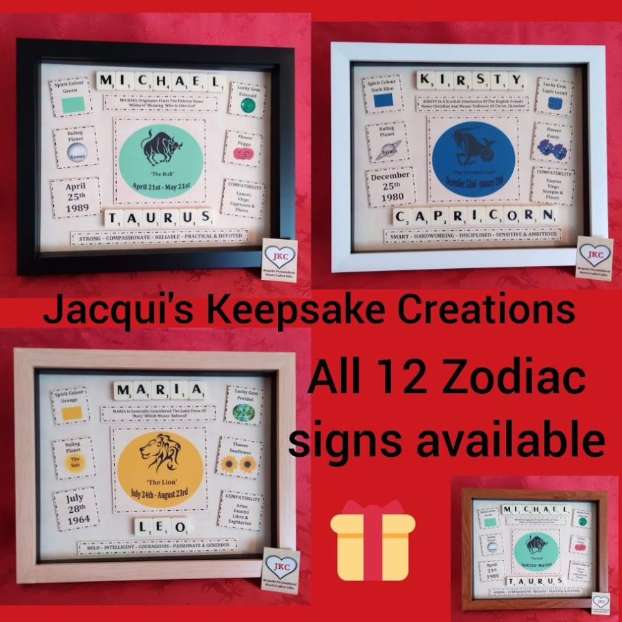Signs of the Zodiac Personalised Keepsake Frame Gift