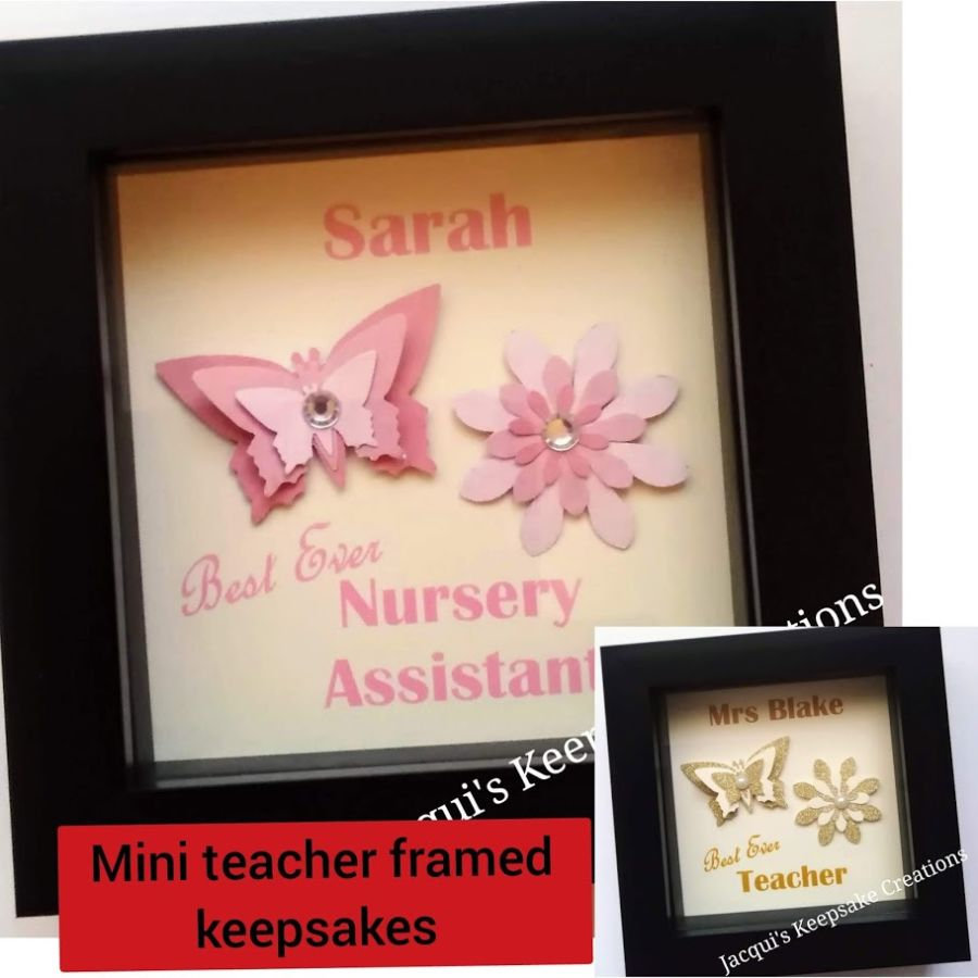 Mini Personalised Keepsake Box Frame Teacher Gift SET OF 2