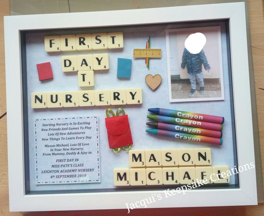 First Day At Nursery Bespoke Box Frame Thank You Gift