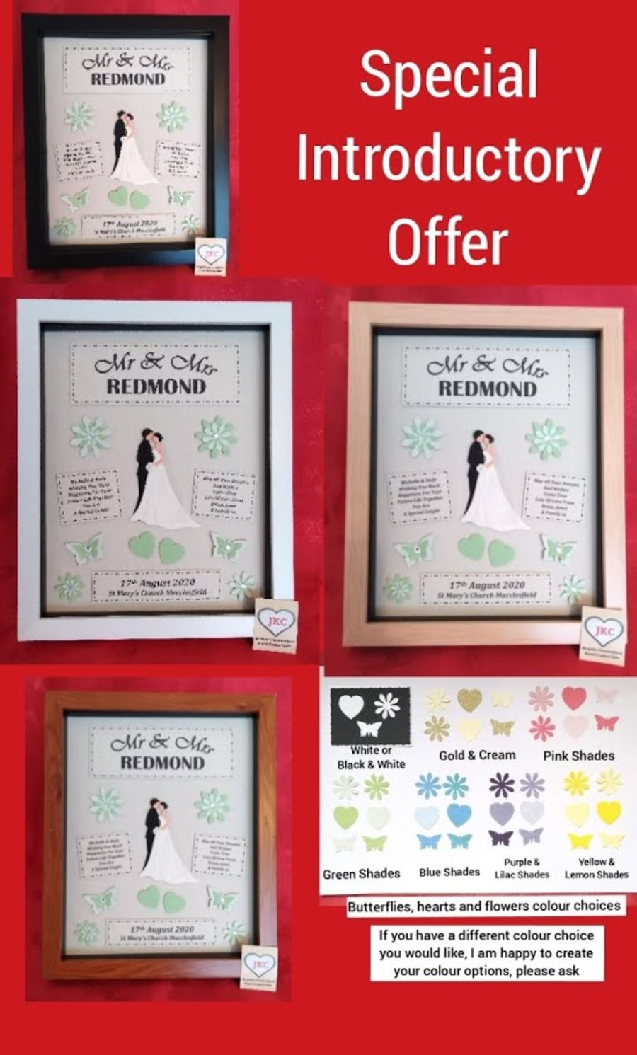 Wedding Day Personalised  Box Frame Picture Gift Plaque