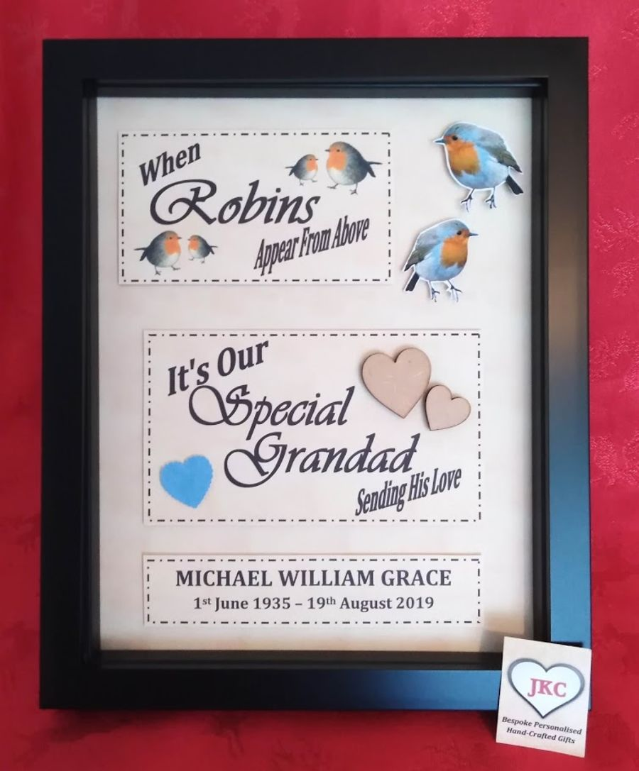 Robins Appear Memorial Box Frame Keepsake