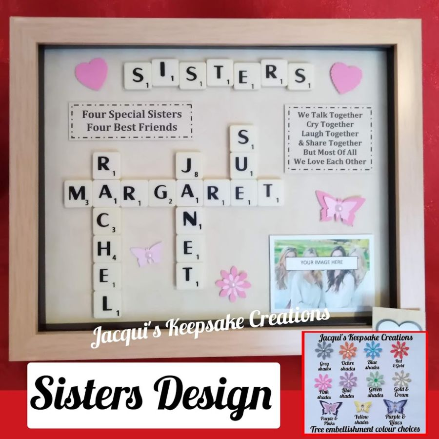 Sisters personalised frame gift scrabble picture