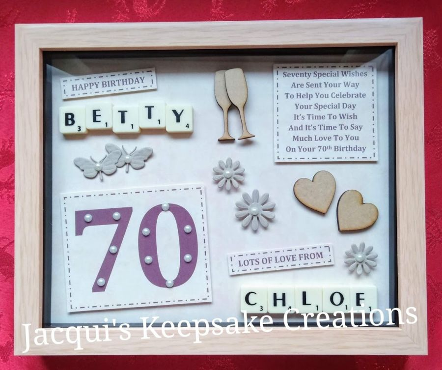 70th Birthday Bespoke Personalised Box Frame Gift