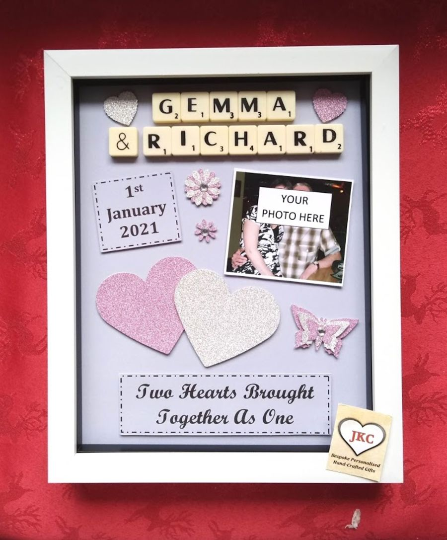 Personalised His & Hers Two Hearts Couple Frame Gift