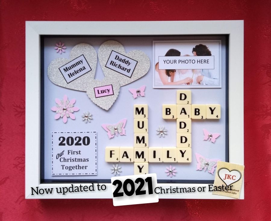 Mummy & Daddy First Christmas or First Easter  Personalised Box Frame Gift 2021