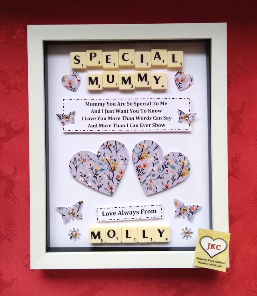Personalised Mothers Day Box Picture  Frame Gift Floral Design 3