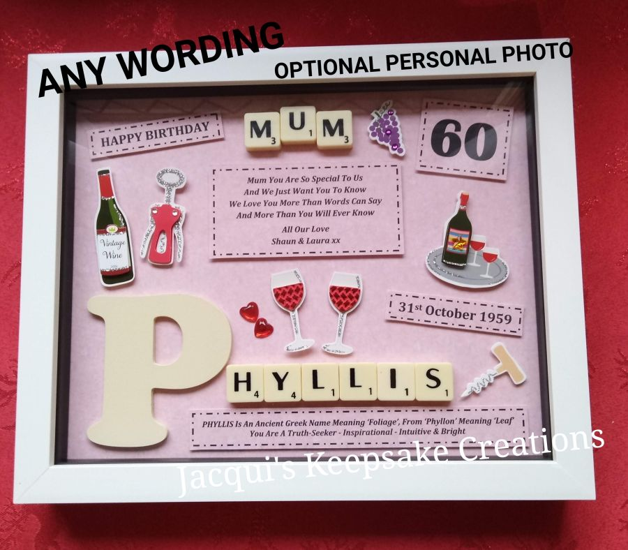 Personalised Wine Drinking Gift Photo Frame Picture Keepsake