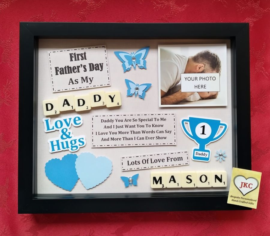 First Father's Day As Daddy Personalised Box Frame Gift