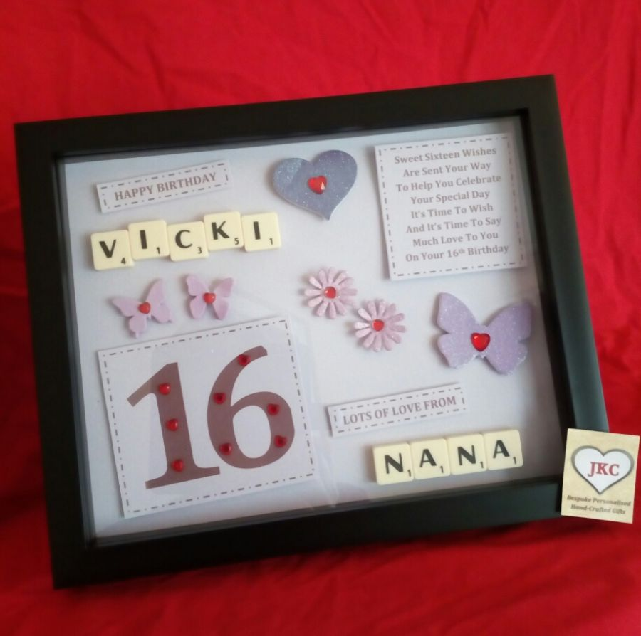 Personalised 16th Birthday Keepsake Frame Picture Gift